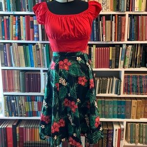 Collectif Fern, Monstera and Hibiscus skirt L